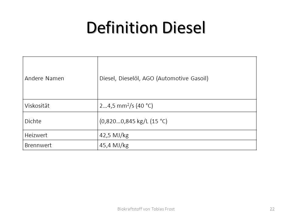 Definition Diesel Andere NamenDiesel, Dieselöl, AGO (Automotive Gasoil) Viskosität2…4,5 mm 2 /s (40 °C) Dichte(0,820…0,845 kg/L (15 °C) Heizwert42,5 M