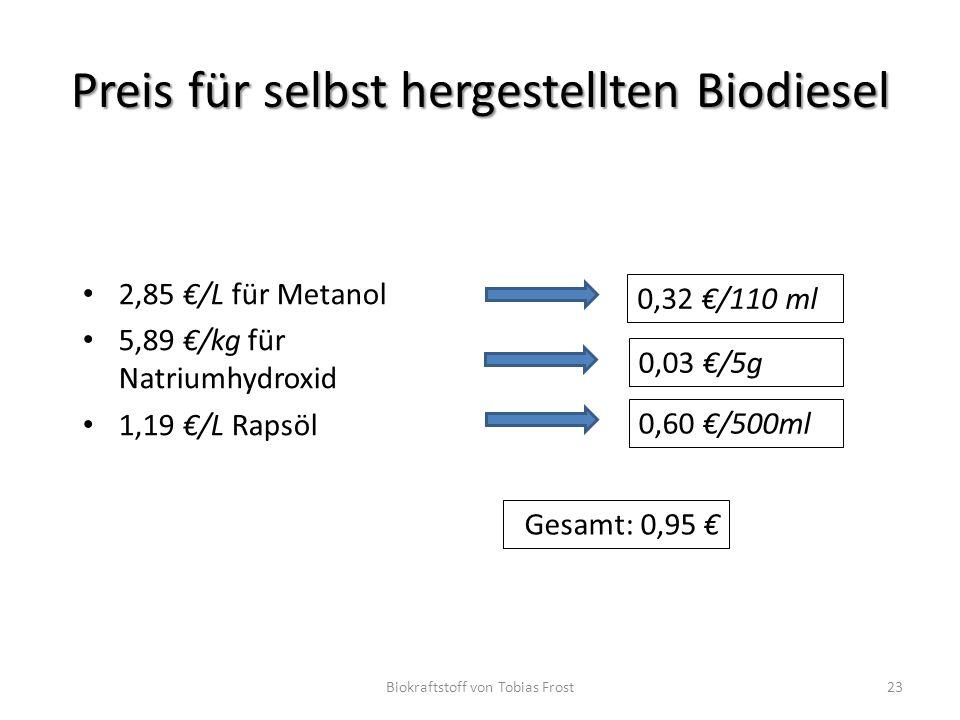 Preis für selbst hergestellten Biodiesel 2,85 €/L für Metanol 5,89 €/kg für Natriumhydroxid 1,19 €/L Rapsöl Biokraftstoff von Tobias Frost23 0,32 €/11