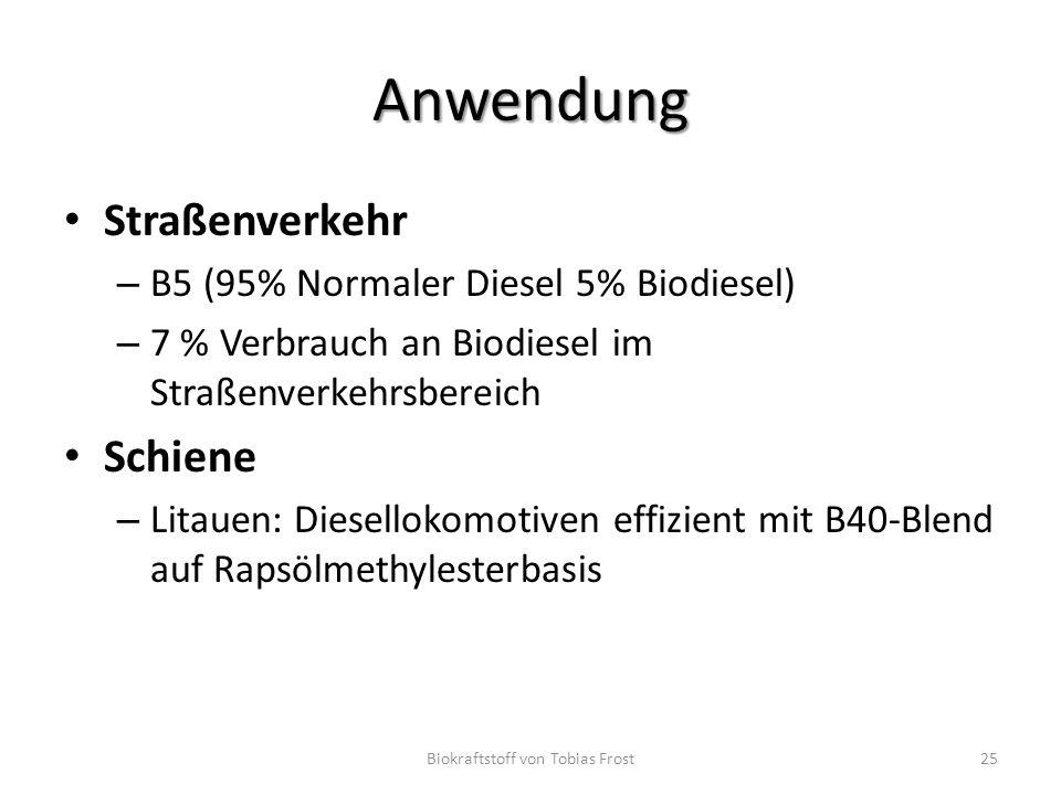 Anwendung Straßenverkehr – B5 (95% Normaler Diesel 5% Biodiesel) – 7 % Verbrauch an Biodiesel im Straßenverkehrsbereich Schiene – Litauen: Diesellokom