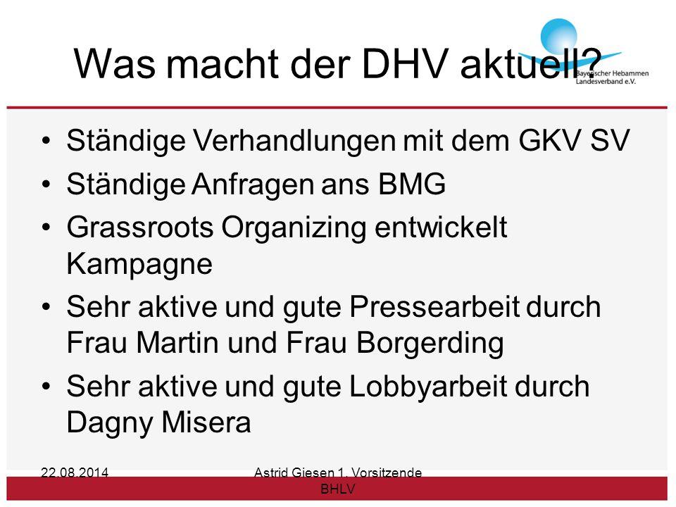 Was macht der DHV aktuell? Ständige Verhandlungen mit dem GKV SV Ständige Anfragen ans BMG Grassroots Organizing entwickelt Kampagne Sehr aktive und g