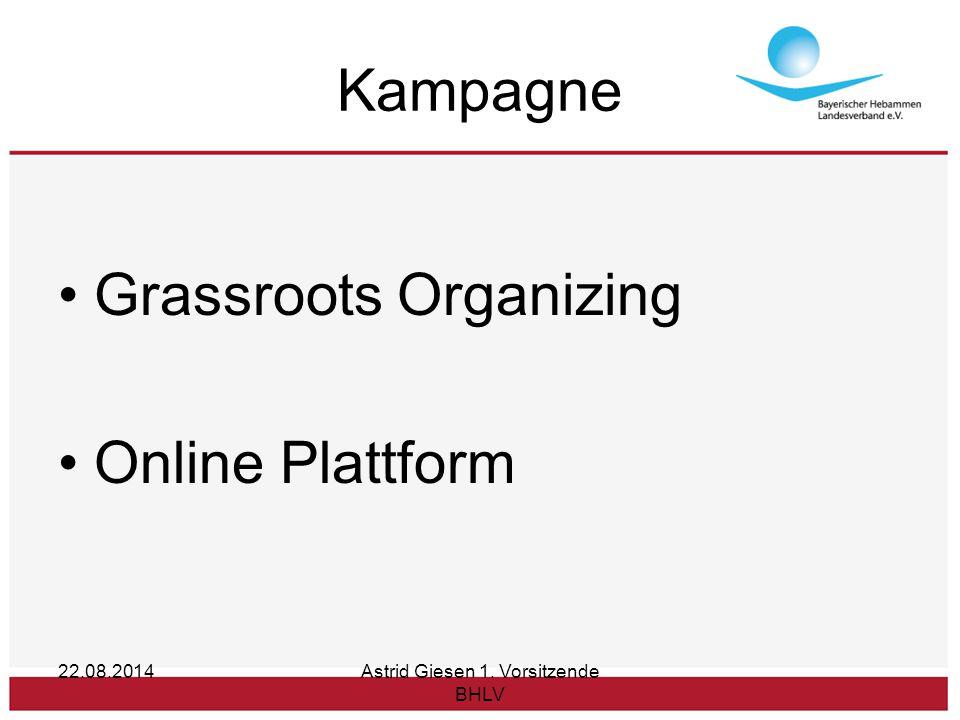 Kampagne Grassroots Organizing Online Plattform 22.08.2014Astrid Giesen 1. Vorsitzende BHLV