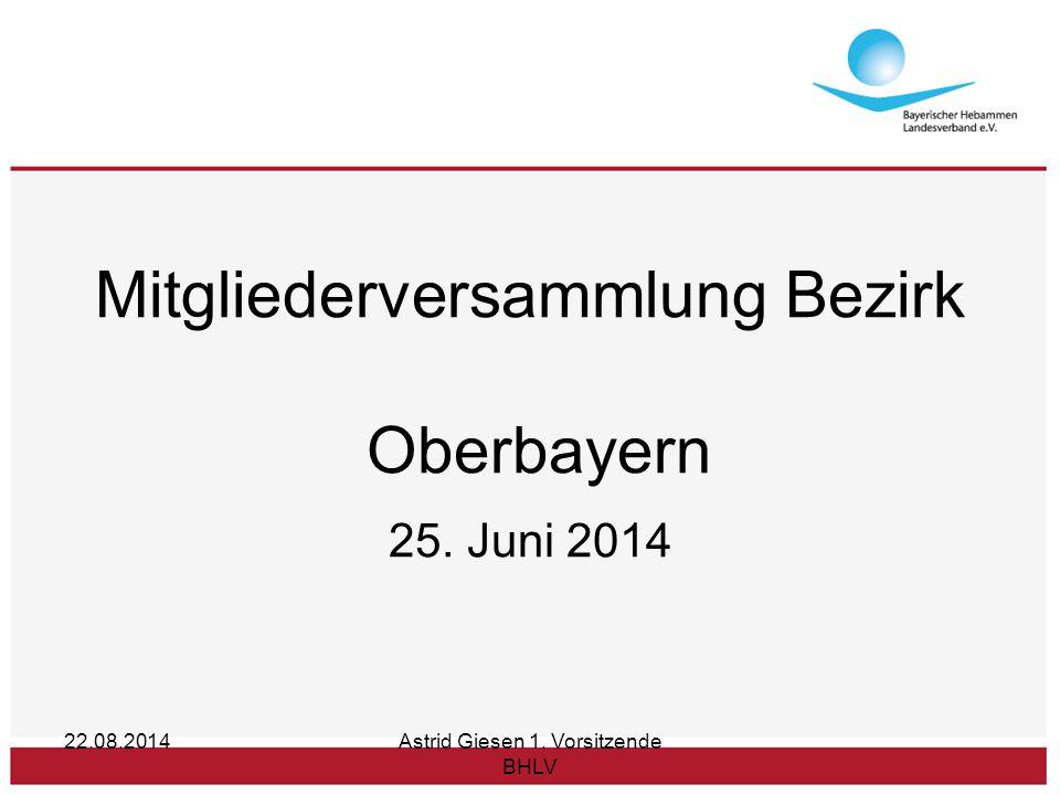 22.08.2014Astrid Giesen 1. Vorsitzende BHLV Mitgliederversammlung Bezirk Oberbayern 25. Juni 2014