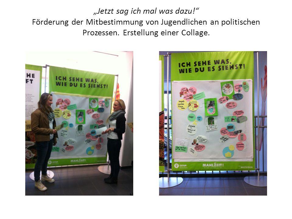 """""""Jetzt sag ich mal was dazu!"""" Förderung der Mitbestimmung von Jugendlichen an politischen Prozessen. Erstellung einer Collage."""
