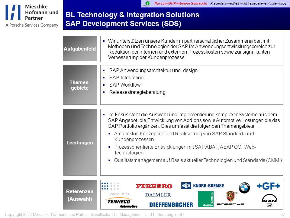 Technology & Integration Solutions (TIS) Leistungsportfolio TIS Themengebiete MHP Differenzierung in der Leistungserbringung Strategische Themen Darst