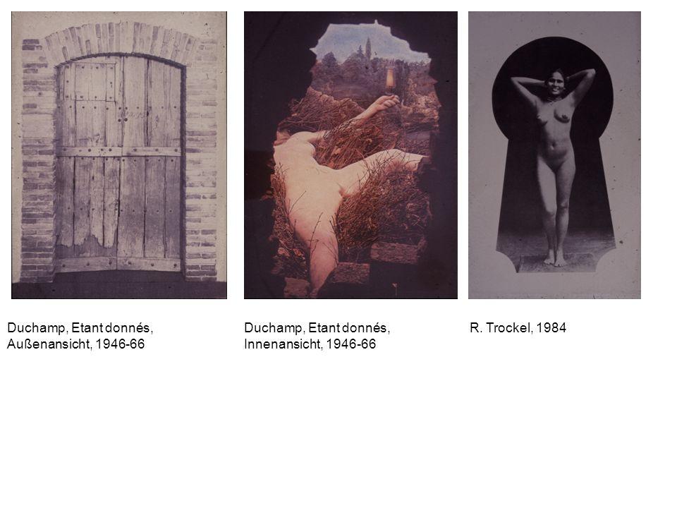 Duchamp, Etant donnés, Außenansicht, 1946-66 Duchamp, Etant donnés, Innenansicht, 1946-66 R. Trockel, 1984