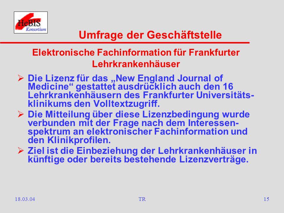 18.03.04TR14  Seit Anfang März ist der Testzugriff auf 53 überwiegend deutschsprachige Zeitschriften des Verlages Walter de Gruyter freigeschaltet.