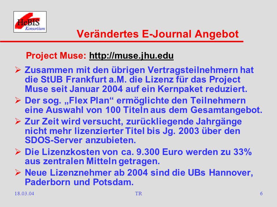 18.03.04TR5  Seit 1. Januar 2004 stehen über das Campusnetz der JWGU Frankfurt a.M.