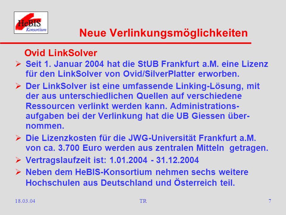 18.03.04TR6  Zusammen mit den übrigen Vertragsteilnehmern hat die StUB Frankfurt a.M.
