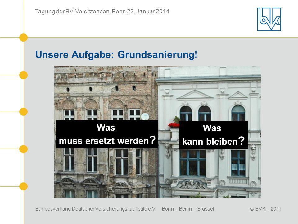 Bundesverband Deutscher Versicherungskaufleute e.V. Bonn – Berlin – Brüssel© BVK – 2011 Tagung der BV-Vorsitzenden, Bonn 22. Januar 2014 Unsere Aufgab