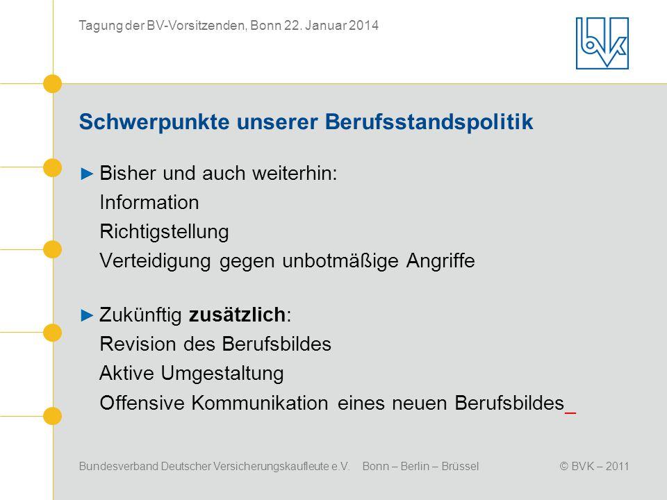 Bundesverband Deutscher Versicherungskaufleute e.V. Bonn – Berlin – Brüssel© BVK – 2011 Tagung der BV-Vorsitzenden, Bonn 22. Januar 2014 Schwerpunkte