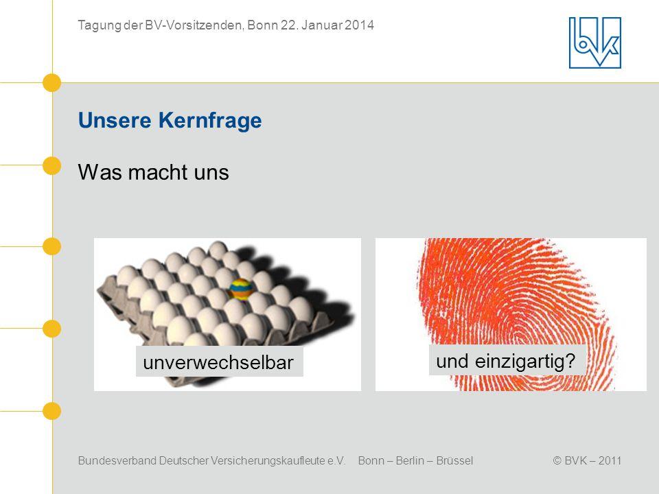 Bundesverband Deutscher Versicherungskaufleute e.V. Bonn – Berlin – Brüssel© BVK – 2011 Tagung der BV-Vorsitzenden, Bonn 22. Januar 2014 Unsere Kernfr