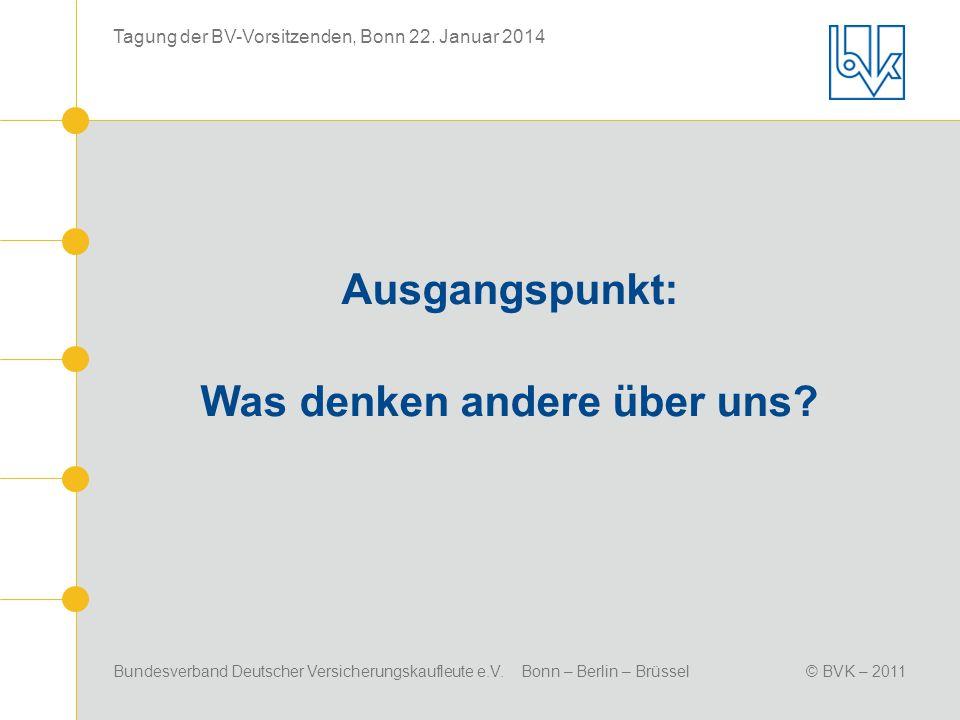 Bundesverband Deutscher Versicherungskaufleute e.V. Bonn – Berlin – Brüssel© BVK – 2011 Tagung der BV-Vorsitzenden, Bonn 22. Januar 2014 Ausgangspunkt