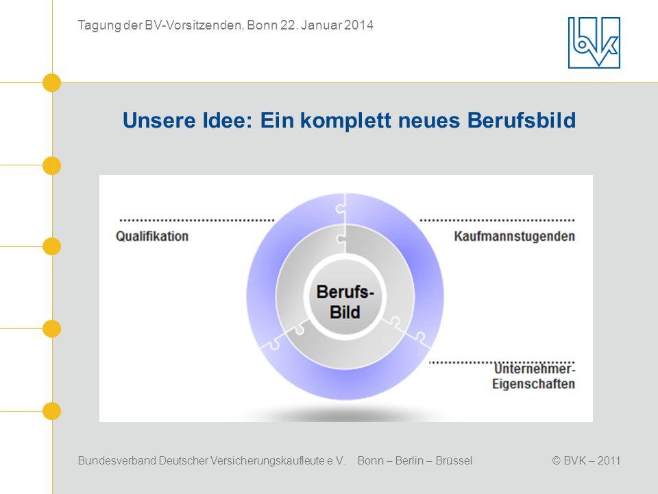 Bundesverband Deutscher Versicherungskaufleute e.V. Bonn – Berlin – Brüssel© BVK – 2011 Tagung der BV-Vorsitzenden, Bonn 22. Januar 2014 Unsere Idee: