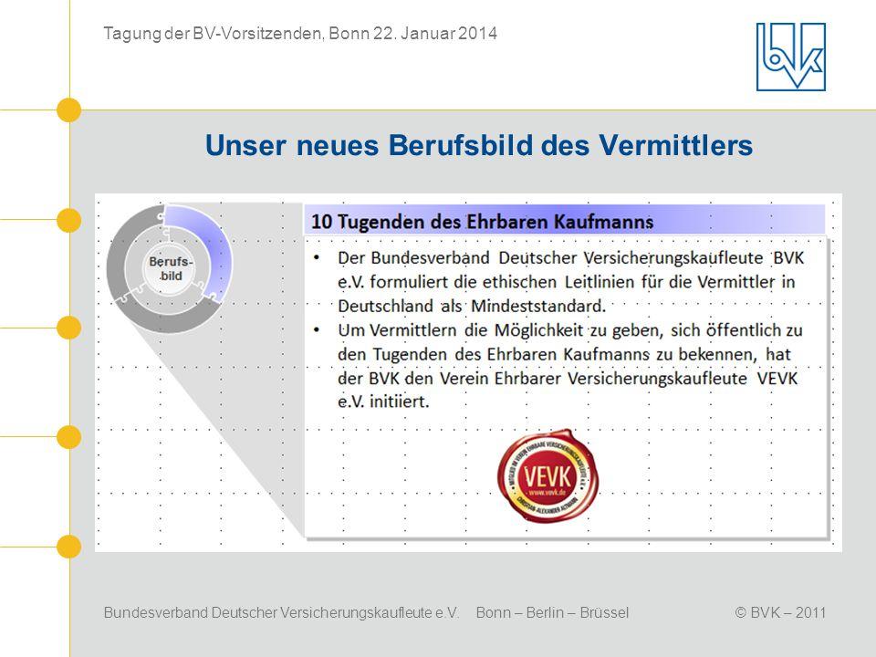 Bundesverband Deutscher Versicherungskaufleute e.V. Bonn – Berlin – Brüssel© BVK – 2011 Tagung der BV-Vorsitzenden, Bonn 22. Januar 2014 Unser neues B