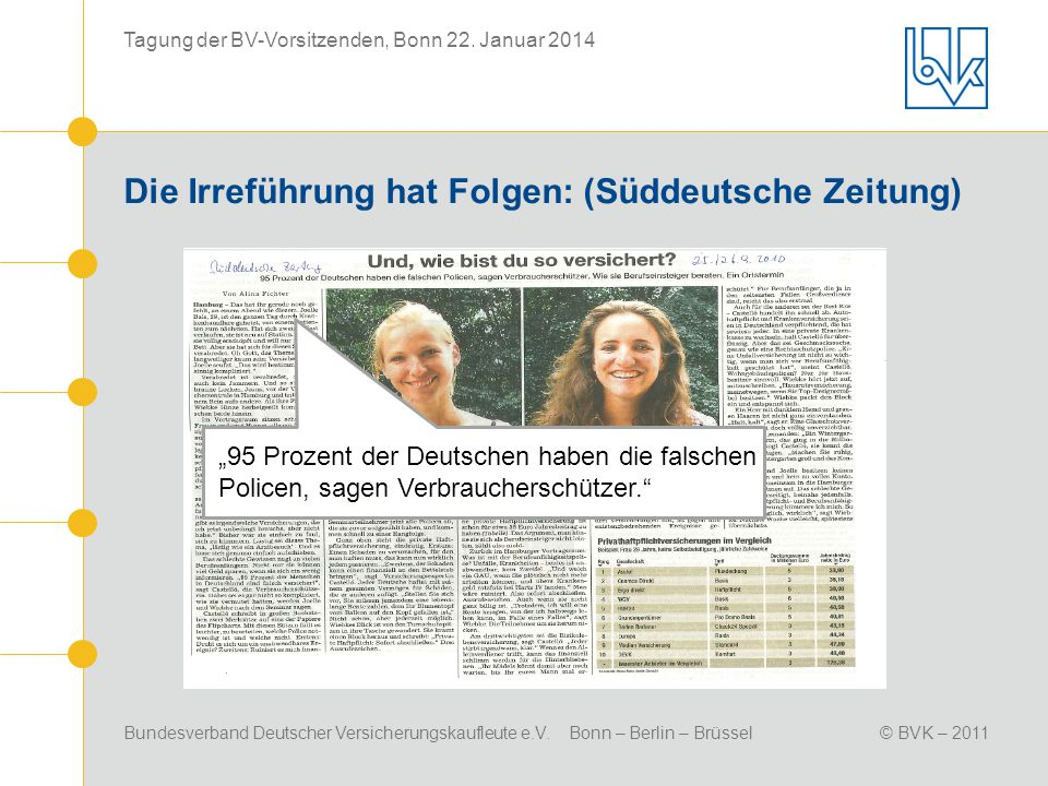 Bundesverband Deutscher Versicherungskaufleute e.V. Bonn – Berlin – Brüssel© BVK – 2011 Tagung der BV-Vorsitzenden, Bonn 22. Januar 2014 Die Irreführu