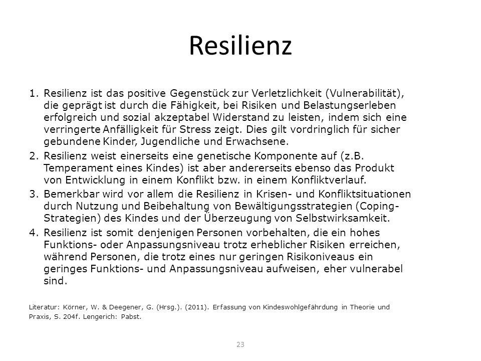 Resilienz 1.Resilienz ist das positive Gegenstück zur Verletzlichkeit (Vulnerabilität), die geprägt ist durch die Fähigkeit, bei Risiken und Belastung