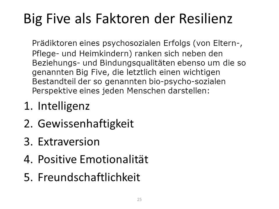 Big Five als Faktoren der Resilienz Prädiktoren eines psychosozialen Erfolgs (von Eltern-, Pflege- und Heimkindern) ranken sich neben den Beziehungs-