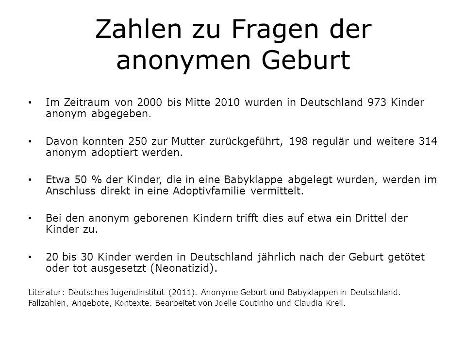 Zahlen zu Fragen der anonymen Geburt Im Zeitraum von 2000 bis Mitte 2010 wurden in Deutschland 973 Kinder anonym abgegeben. Davon konnten 250 zur Mutt