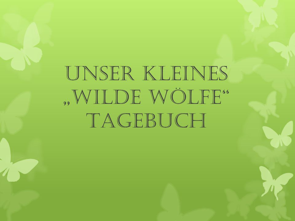 """Unser kleines """"Wilde Wölfe Tagebuch"""