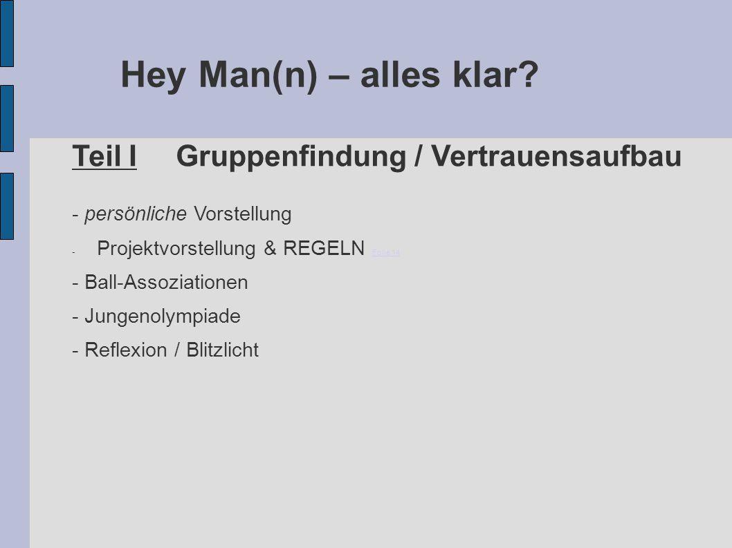 Hey Man(n) – alles klar? Teil IGruppenfindung / Vertrauensaufbau - persönliche Vorstellung - Projektvorstellung & REGELN Folie 14 Folie 14 - Ball-Asso