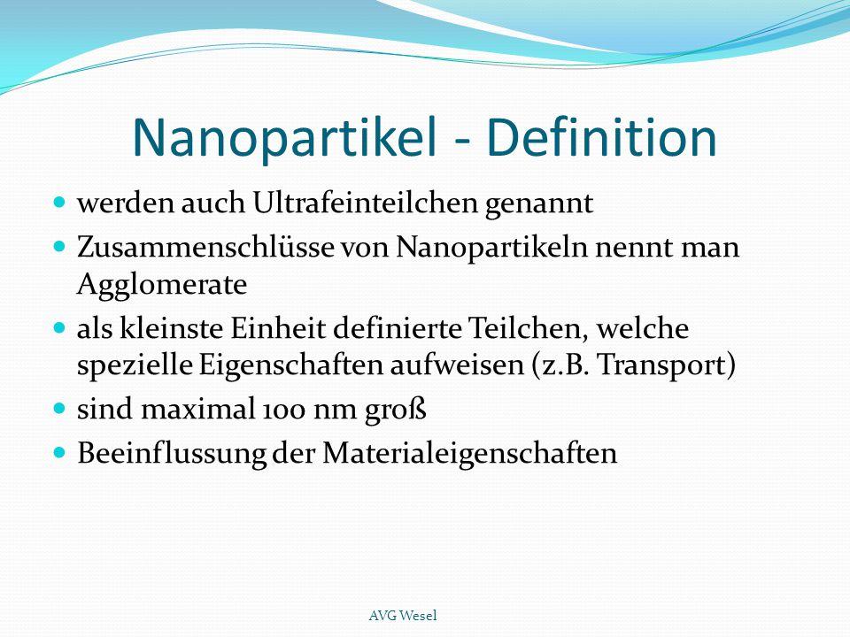Nanopartikel - Definition werden auch Ultrafeinteilchen genannt Zusammenschlüsse von Nanopartikeln nennt man Agglomerate als kleinste Einheit definier