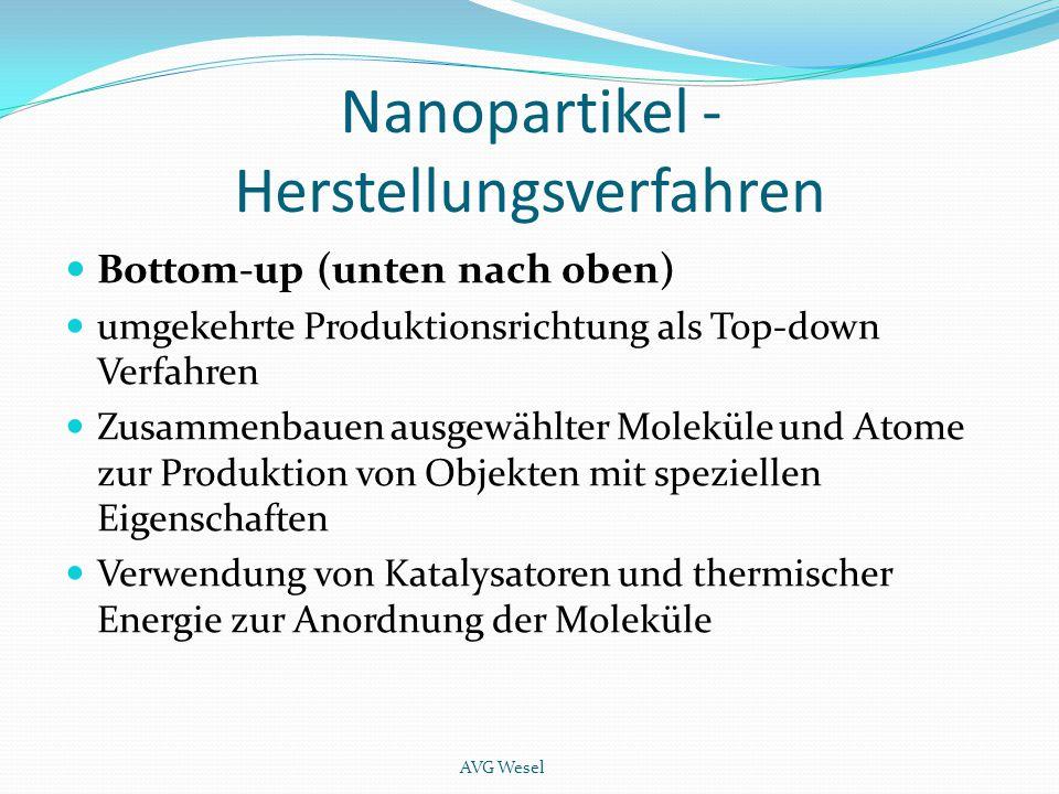 Nanopartikel - Herstellungsverfahren Bottom-up (unten nach oben) umgekehrte Produktionsrichtung als Top-down Verfahren Zusammenbauen ausgewählter Mole