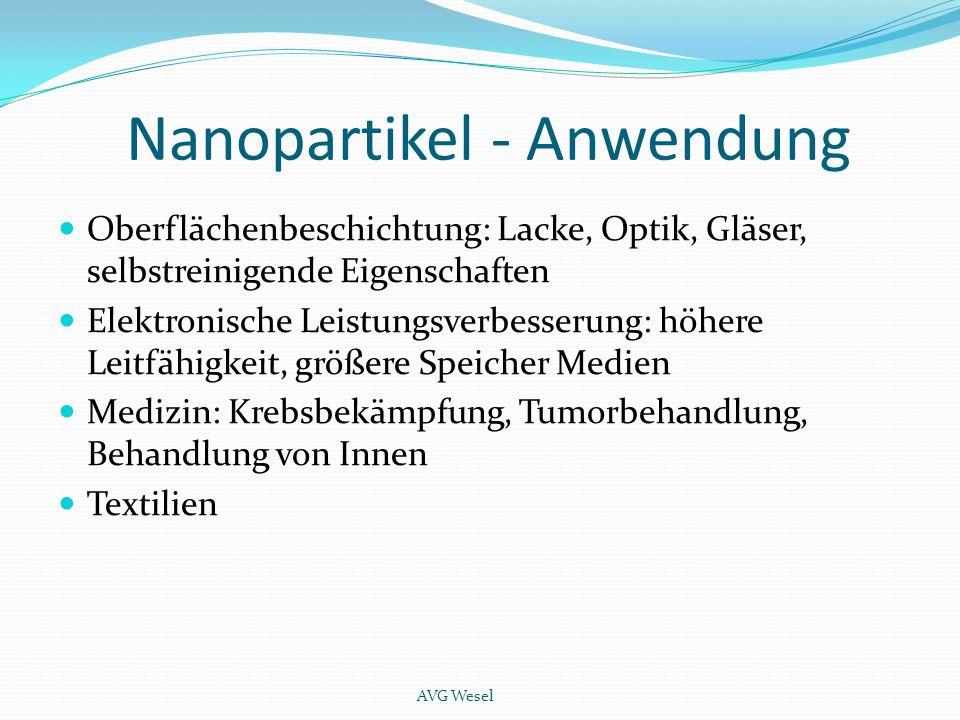 Nanopartikel - Anwendung Oberflächenbeschichtung: Lacke, Optik, Gläser, selbstreinigende Eigenschaften Elektronische Leistungsverbesserung: höhere Lei