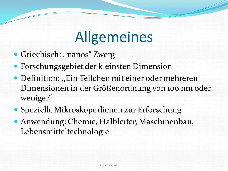 """Allgemeines Griechisch:,,nanos"""" Zwerg Forschungsgebiet der kleinsten Dimension Definition:,,Ein Teilchen mit einer oder mehreren Dimensionen in der Gr"""