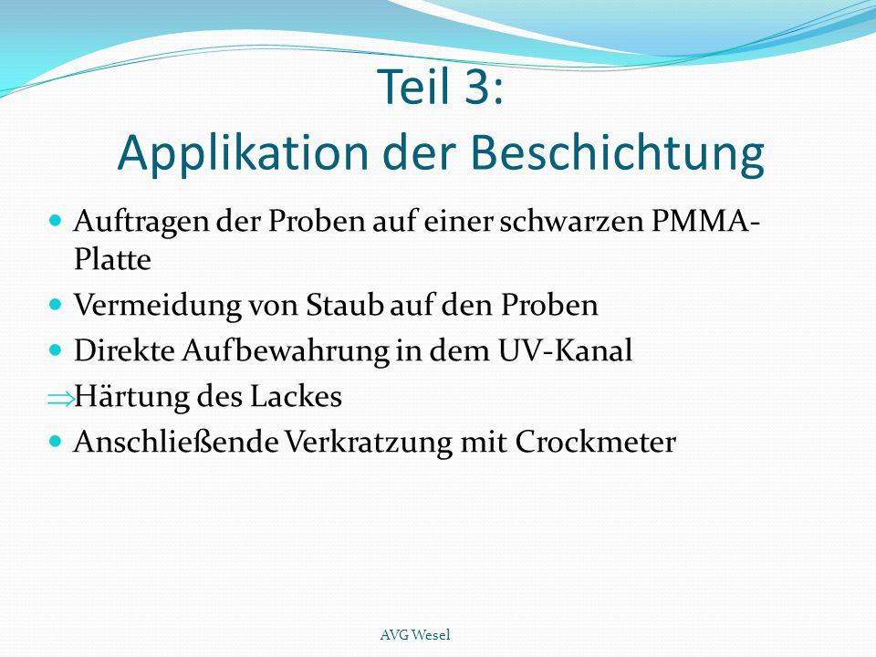 Teil 3: Applikation der Beschichtung Auftragen der Proben auf einer schwarzen PMMA- Platte Vermeidung von Staub auf den Proben Direkte Aufbewahrung in