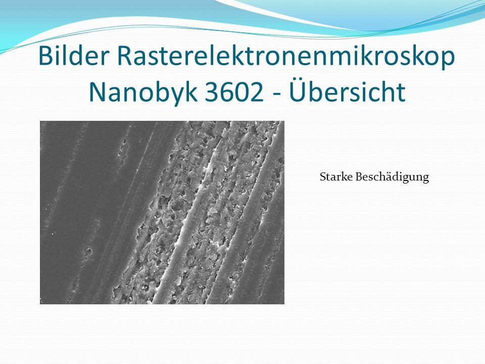 Bilder Rasterelektronenmikroskop Nanobyk 3602 - Übersicht Starke Beschädigung