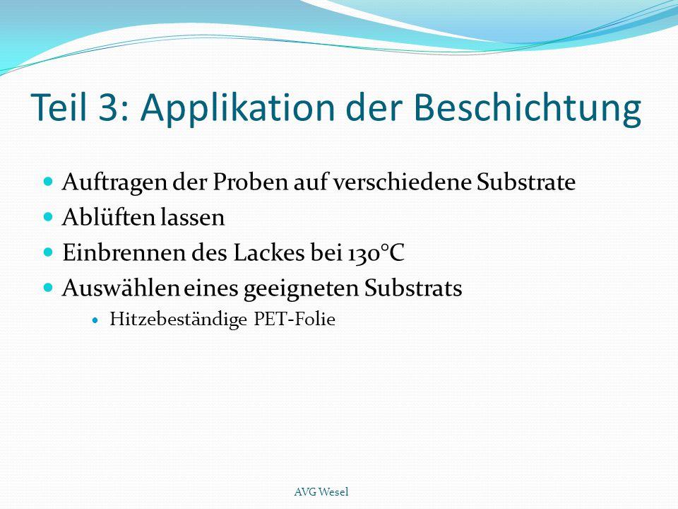 Teil 3: Applikation der Beschichtung Auftragen der Proben auf verschiedene Substrate Ablüften lassen Einbrennen des Lackes bei 130°C Auswählen eines g