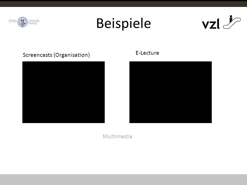 Beispiele Screencasts (Organisation) E-Lecture Multimedia