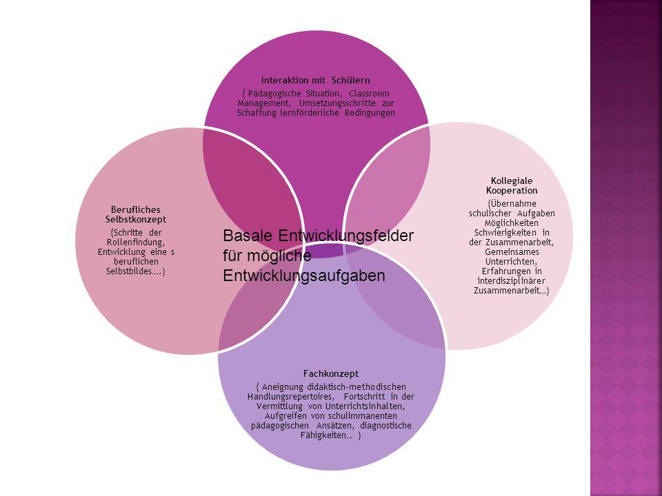 Interaktion mit Schülern ( Pädagogische Situation, Classroom Management, Umsetzungsschritte zur Schaffung lernförderliche Bedingungen Kollegiale Kooperation (Übernahme schulischer Aufgaben Möglichkeiten Schwierigkeiten in der Zusammenarbeit, Gemeinsames Unterrichten, Erfahrungen in interdisziplinärer Zusammenarbeit…) Fachkonzept ( Aneignung didaktisch-methodischen Handlungsrepertoires, Fortschritt in der Vermittlung von Unterrichtsinhalten, Aufgreifen von schulimmanenten pädagogischen Ansätzen, diagnostische Fähigkeiten… ) Berufliches Selbstkonzept (Schritte der Rollenfindung, Entwicklung eine s beruflichen Selbstbildes….) Basale Entwicklungsfelder für mögliche Entwicklungsaufgaben