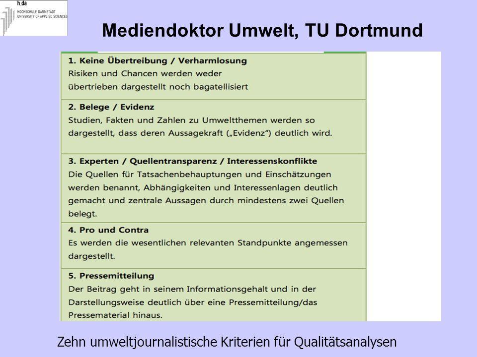 Mediendoktor Umwelt, TU Dortmund Zehn umweltjournalistische Kriterien für Qualitätsanalysen