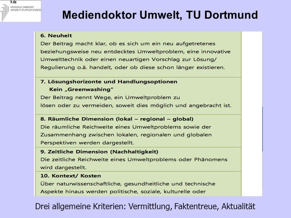 Mediendoktor Umwelt, TU Dortmund Drei allgemeine Kriterien: Vermittlung, Faktentreue, Aktualität