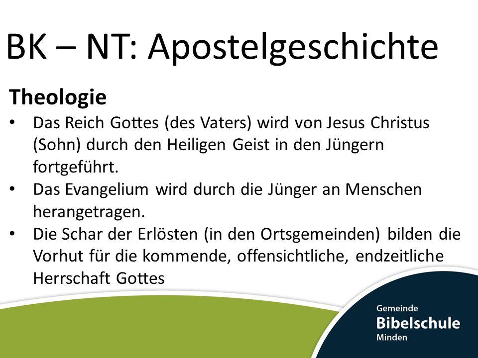 BK – NT: Apostelgeschichte Theologie Das Reich Gottes (des Vaters) wird von Jesus Christus (Sohn) durch den Heiligen Geist in den Jüngern fortgeführt.