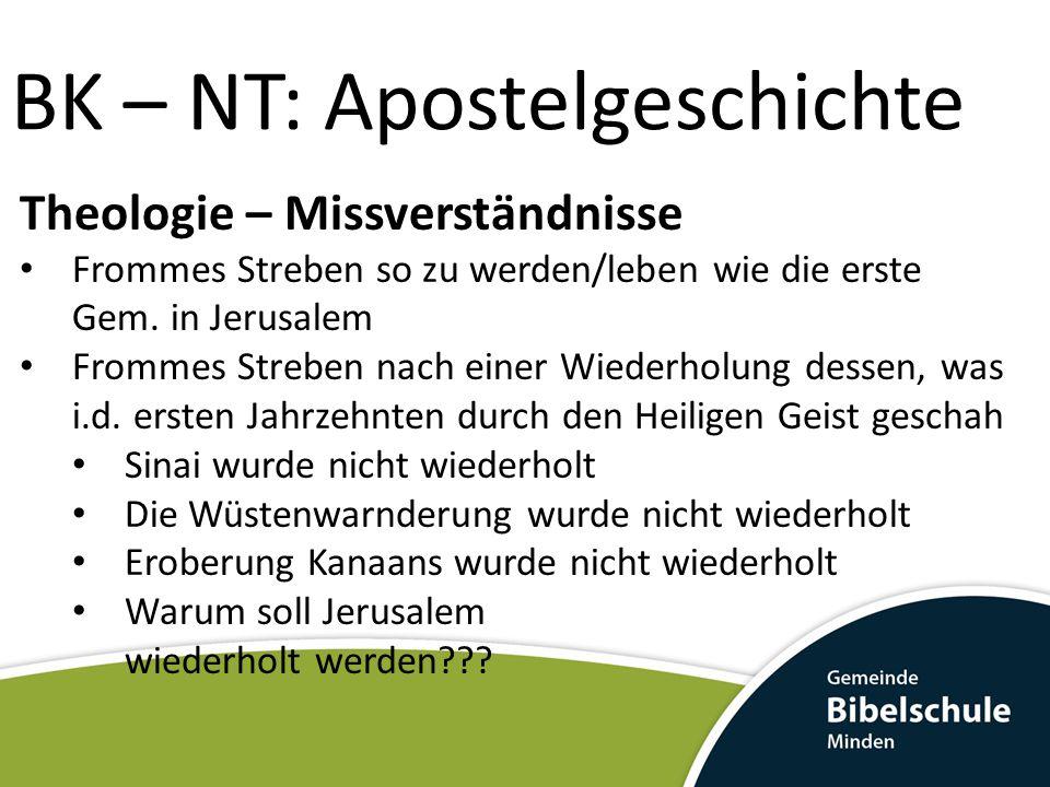BK – NT: Apostelgeschichte Theologie – Missverständnisse Frommes Streben so zu werden/leben wie die erste Gem. in Jerusalem Frommes Streben nach einer
