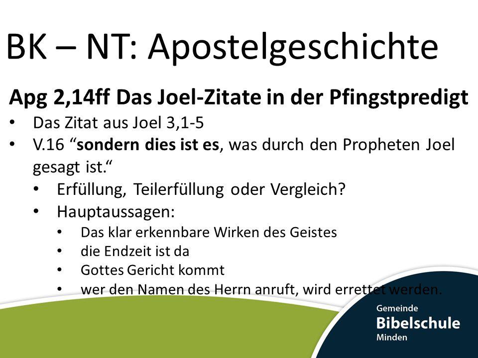 """Apg 2,14ff Das Joel-Zitate in der Pfingstpredigt Das Zitat aus Joel 3,1-5 V.16 """"sondern dies ist es, was durch den Propheten Joel gesagt ist."""" Erfüllu"""
