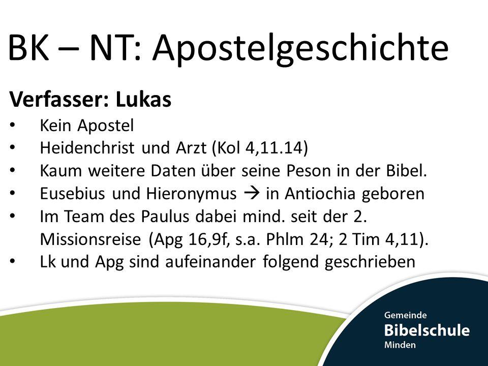 BK – NT: Apostelgeschichte Verfasser: Lukas Kein Augenzeuge der Apg 1-15 Lk & Apg sind das Ergebnis seiner historischen & theologischen Recherchen, die er aus verschiedenen Quellen zusammengetragen hatte.