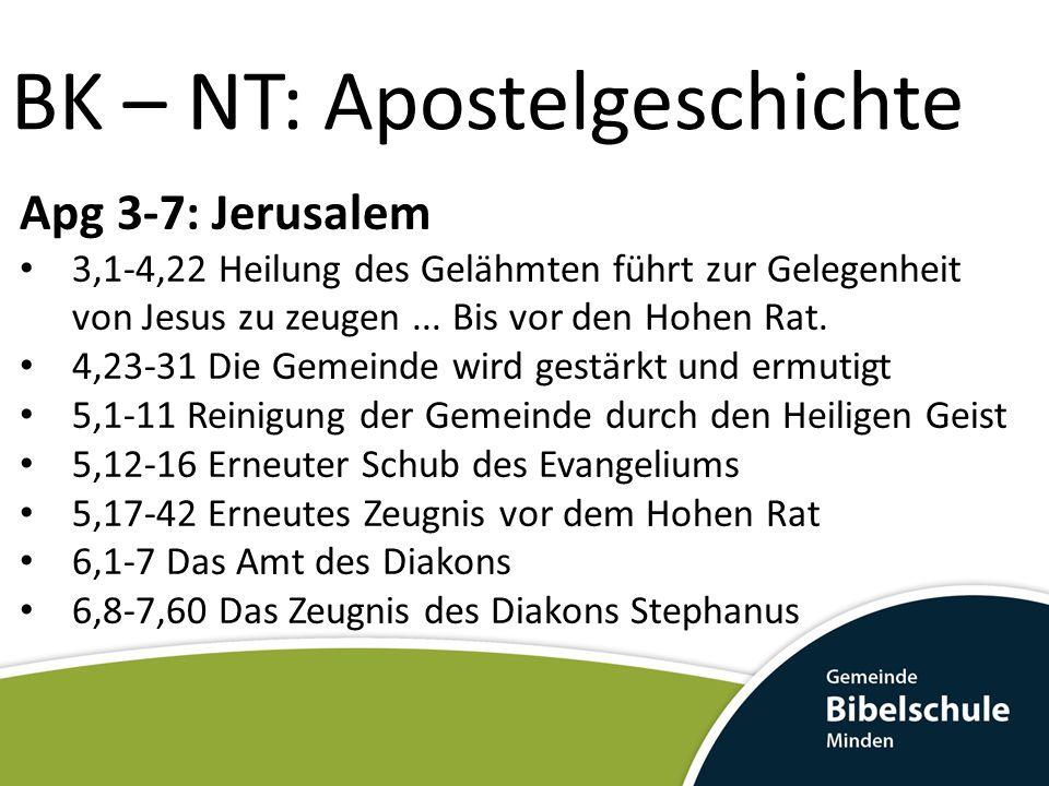 BK – NT: Apostelgeschichte Apg 3-7: Jerusalem 3,1-4,22 Heilung des Gelähmten führt zur Gelegenheit von Jesus zu zeugen... Bis vor den Hohen Rat. 4,23-