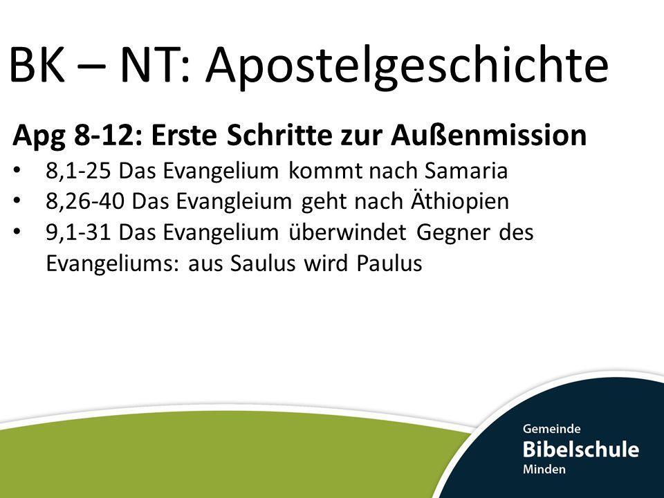 BK – NT: Apostelgeschichte Apg 8-12: Erste Schritte zur Außenmission 8,1-25 Das Evangelium kommt nach Samaria 8,26-40 Das Evangleium geht nach Äthiopi