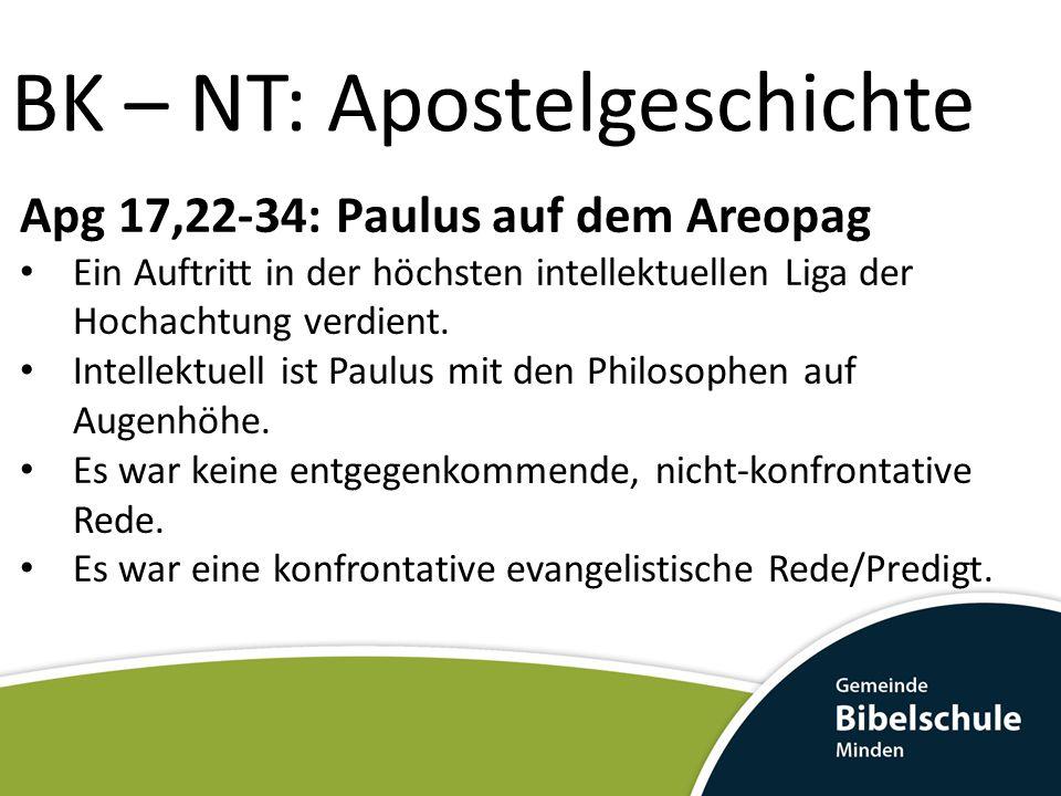 BK – NT: Apostelgeschichte Apg 17,22-34: Paulus auf dem Areopag Ein Auftritt in der höchsten intellektuellen Liga der Hochachtung verdient. Intellektu