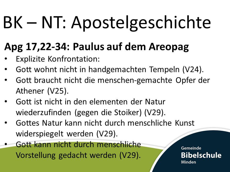 BK – NT: Apostelgeschichte Apg 17,22-34: Paulus auf dem Areopag Explizite Konfrontation: Gott wohnt nicht in handgemachten Tempeln (V24). Gott braucht