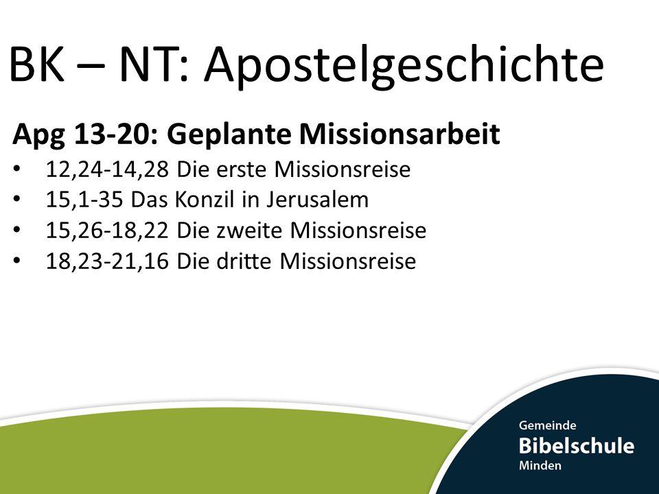 BK – NT: Apostelgeschichte Apg 13-20: Geplante Missionsarbeit 12,24-14,28 Die erste Missionsreise 15,1-35 Das Konzil in Jerusalem 15,26-18,22 Die zwei