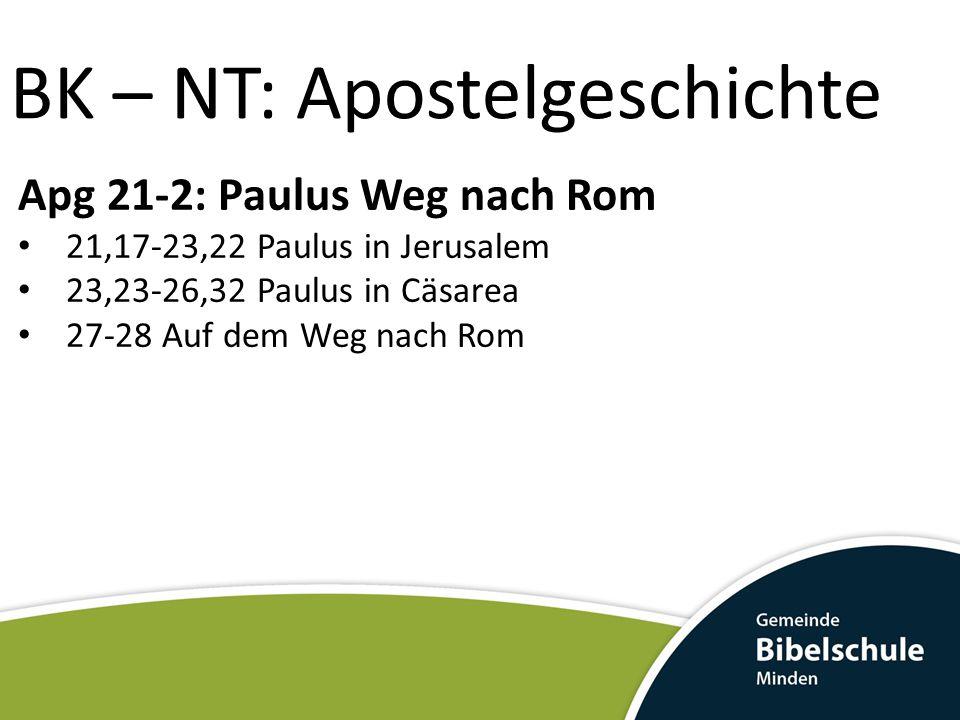 BK – NT: Apostelgeschichte Apg 21-2: Paulus Weg nach Rom 21,17-23,22 Paulus in Jerusalem 23,23-26,32 Paulus in Cäsarea 27-28 Auf dem Weg nach Rom