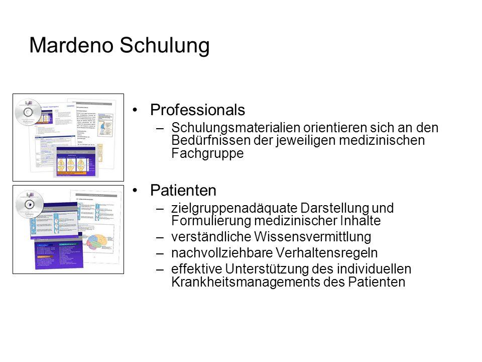 Mardeno Schulung Professionals –Schulungsmaterialien orientieren sich an den Bedürfnissen der jeweiligen medizinischen Fachgruppe Patienten –zielgrupp