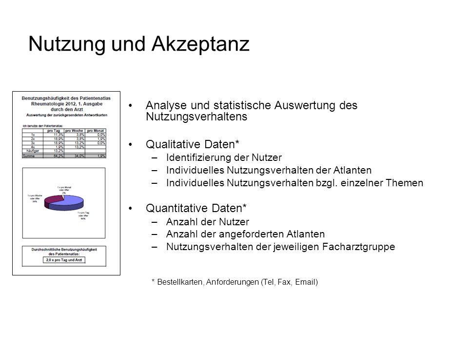 Nutzung und Akzeptanz Analyse und statistische Auswertung des Nutzungsverhaltens Qualitative Daten* –Identifizierung der Nutzer –Individuelles Nutzungsverhalten der Atlanten –Individuelles Nutzungsverhalten bzgl.