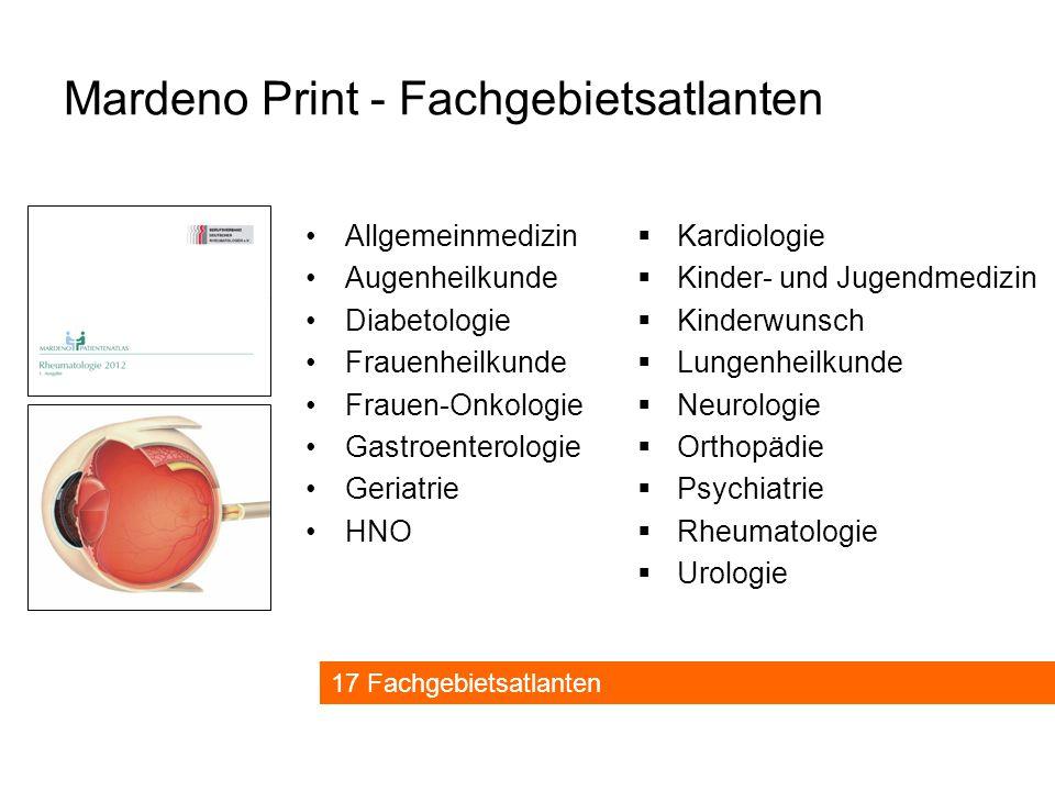 Mardeno Print - Fachgebietsatlanten  Kardiologie  Kinder- und Jugendmedizin  Kinderwunsch  Lungenheilkunde  Neurologie  Orthopädie  Psychiatrie