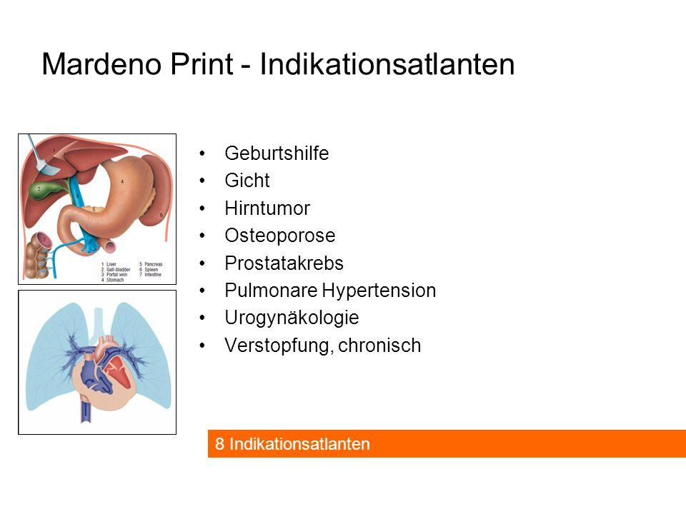 Mardeno Print - Indikationsatlanten Geburtshilfe Gicht Hirntumor Osteoporose Prostatakrebs Pulmonare Hypertension Urogynäkologie Verstopfung, chronisch 8 Indikationsatlanten