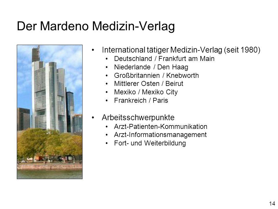 14 Der Mardeno Medizin-Verlag International tätiger Medizin-Verlag (seit 1980) Deutschland / Frankfurt am Main Niederlande / Den Haag Großbritannien /